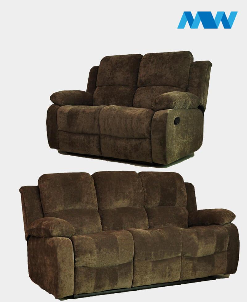 Valencia Recliner 2 + 3 seater Fabric Sofa brown