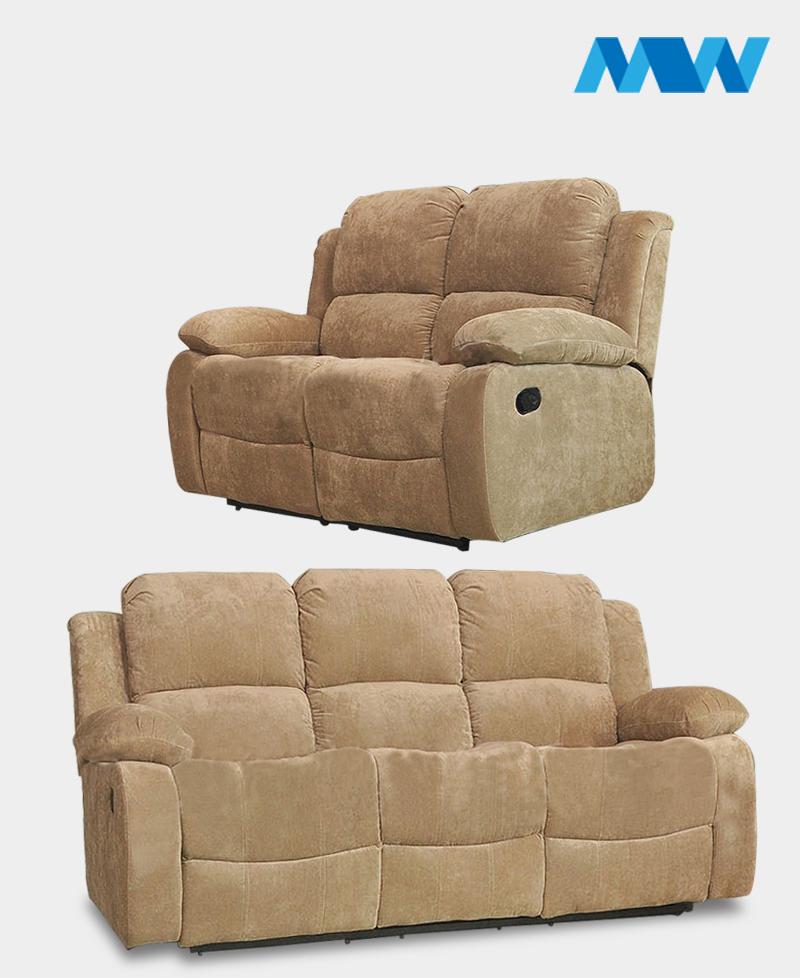Valencia 2+3 Recliner Fabric Sofa Set cream