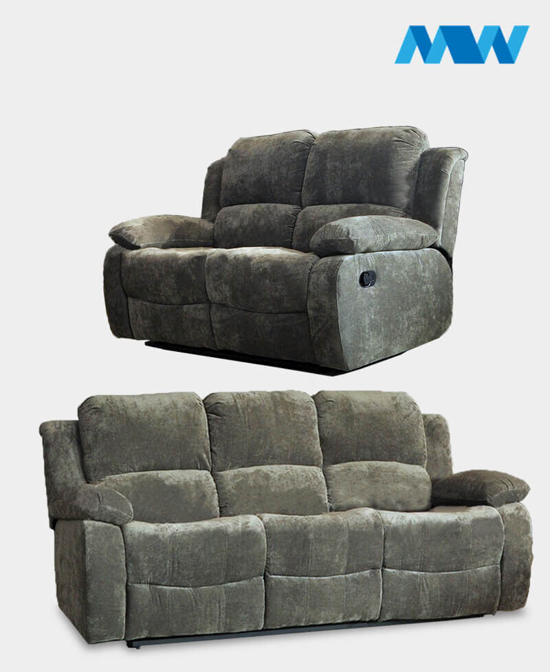 Valencia 2+3 Recliner Fabric Sofa Set charcoal