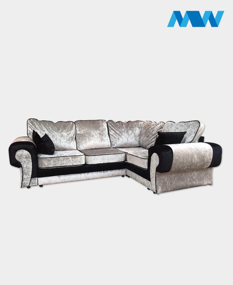 Tangent Shimmer Crushed Velvet Corner Sofa Right corner silver