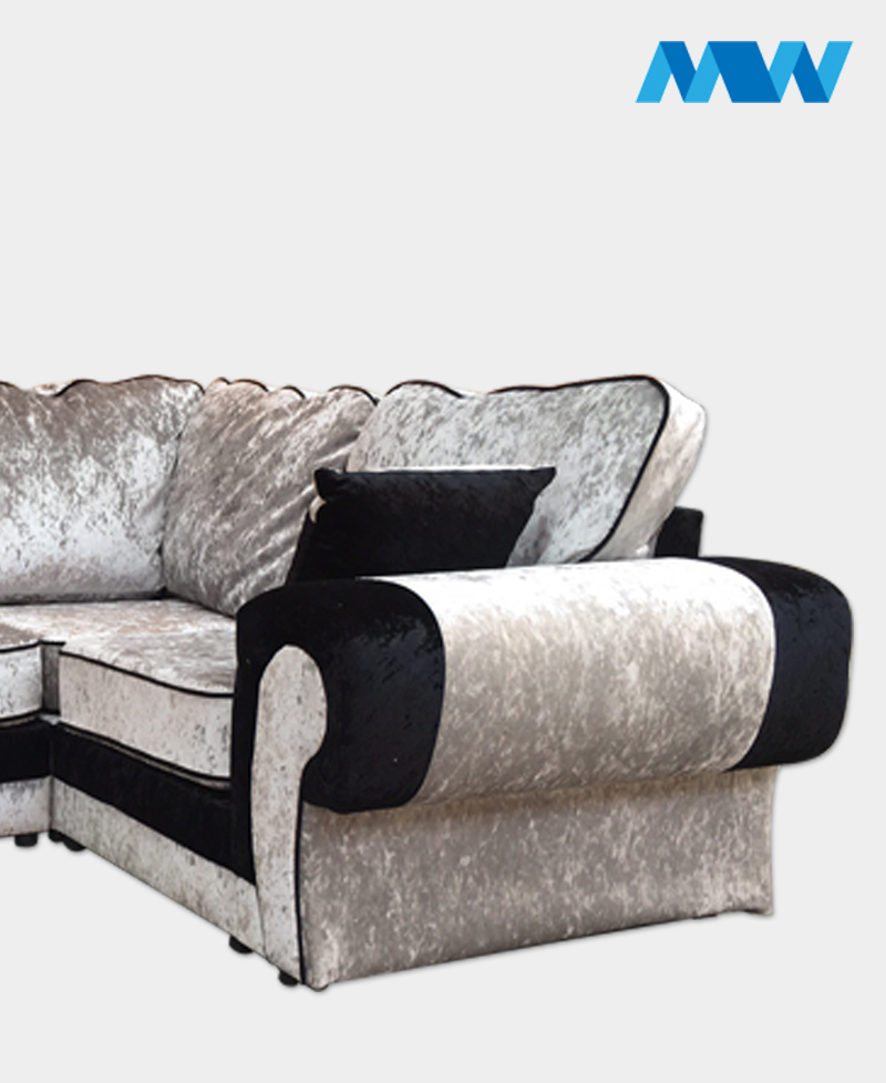 Tangent Shimmer Crushed Velvet Corner Sofa Right corner silver