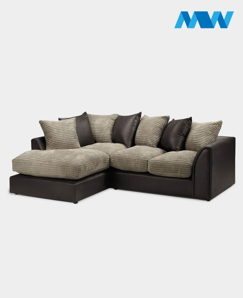 Byron Faux Leather Corner Sofa Brown and oak Lh corner