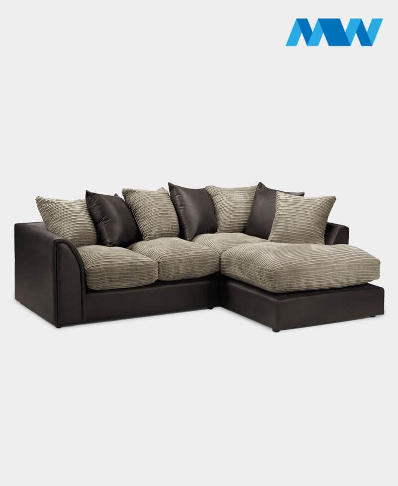 Byron Faux Leather Corner Sofa Brown and oak