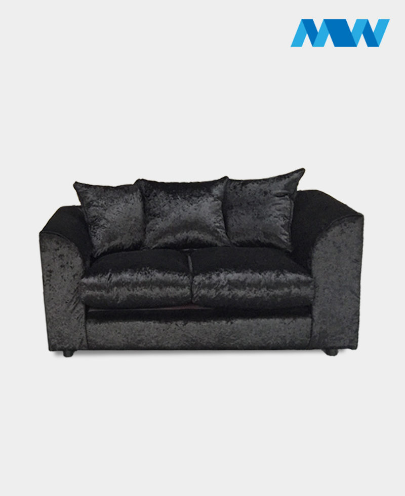 Crushed velvet 2 seater sofa black