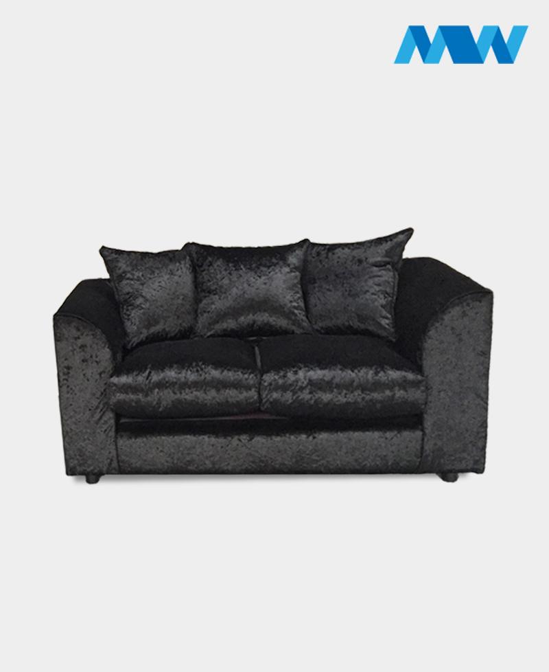 Crushed velvet 2 seater sofa black