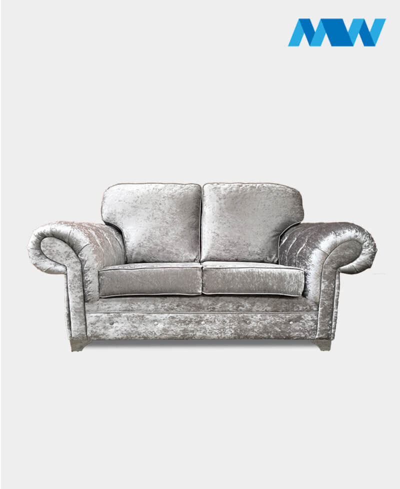 chesterfield shimmer 2 seater silver view