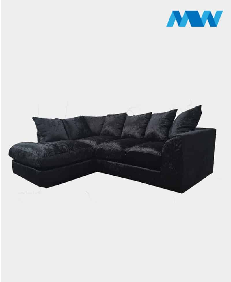 Chicago Crush Velvet Corner Sofa black left corner