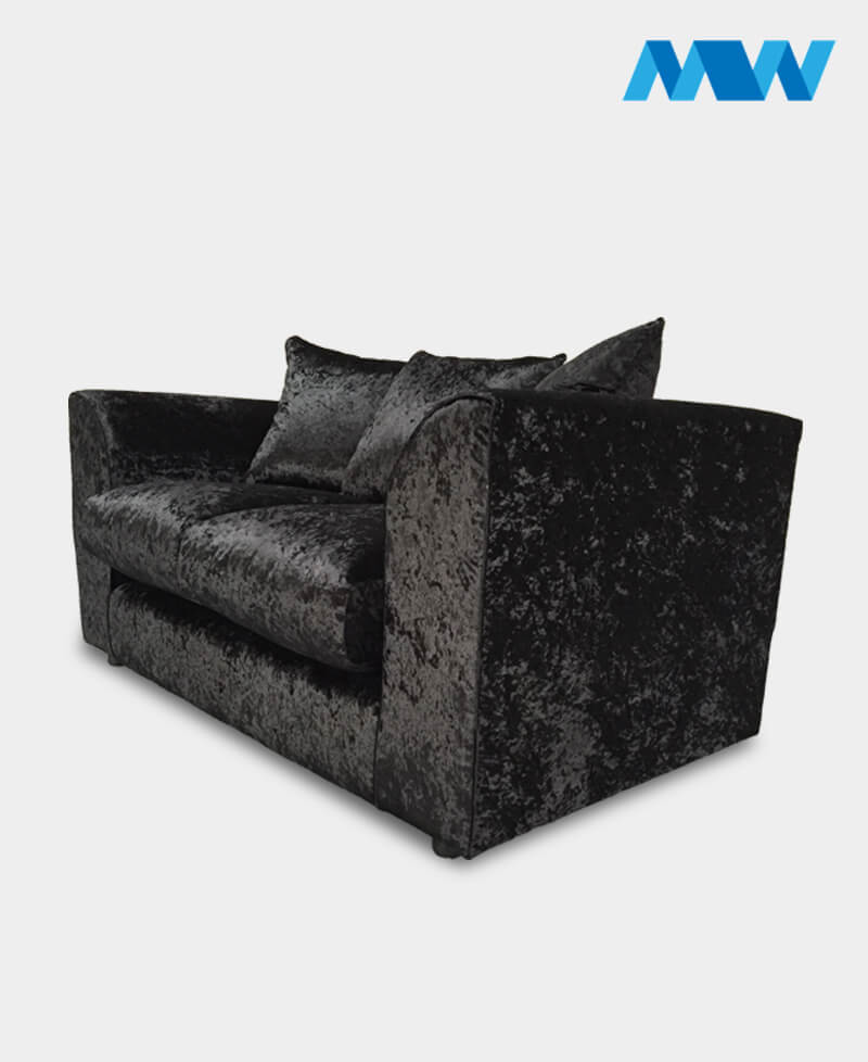 dianna 3 seater crushed velvet blackk