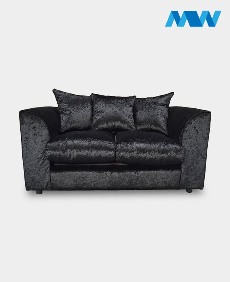 Diana 2 Seater Crushed Velvet Sofa 2 seater black