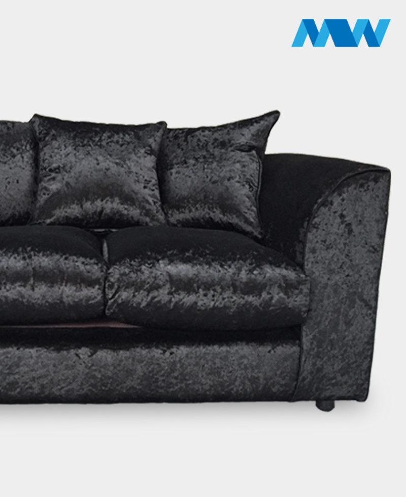Diana 2 Seater Crushed Velvet Sofa 2 seater black