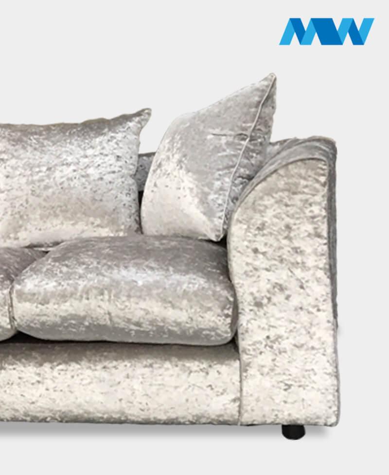 dianna crushed velvet sofa silver eise