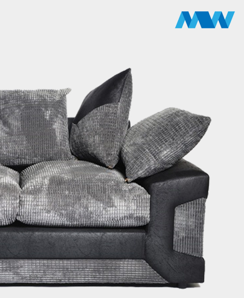 Dino 3 Seater Crush Velvet Sofa black and grey