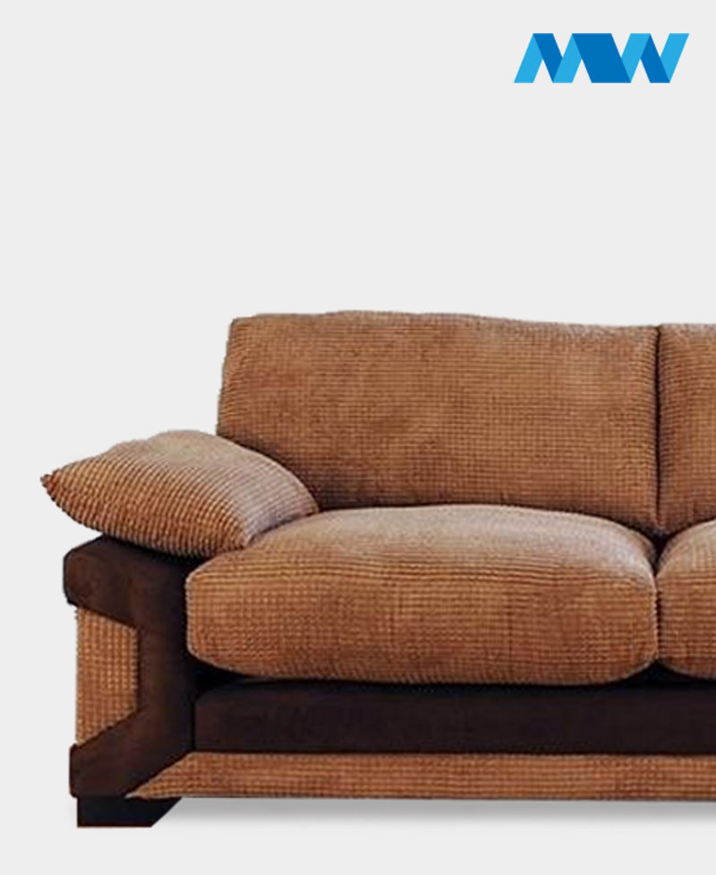Horizon 3 Seater Fabric Sofa brown and oak