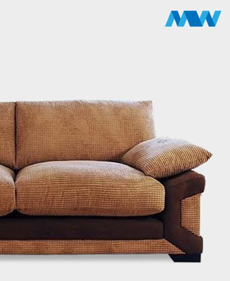 Horizon 3 Seater Fabric Sofa brown and oak