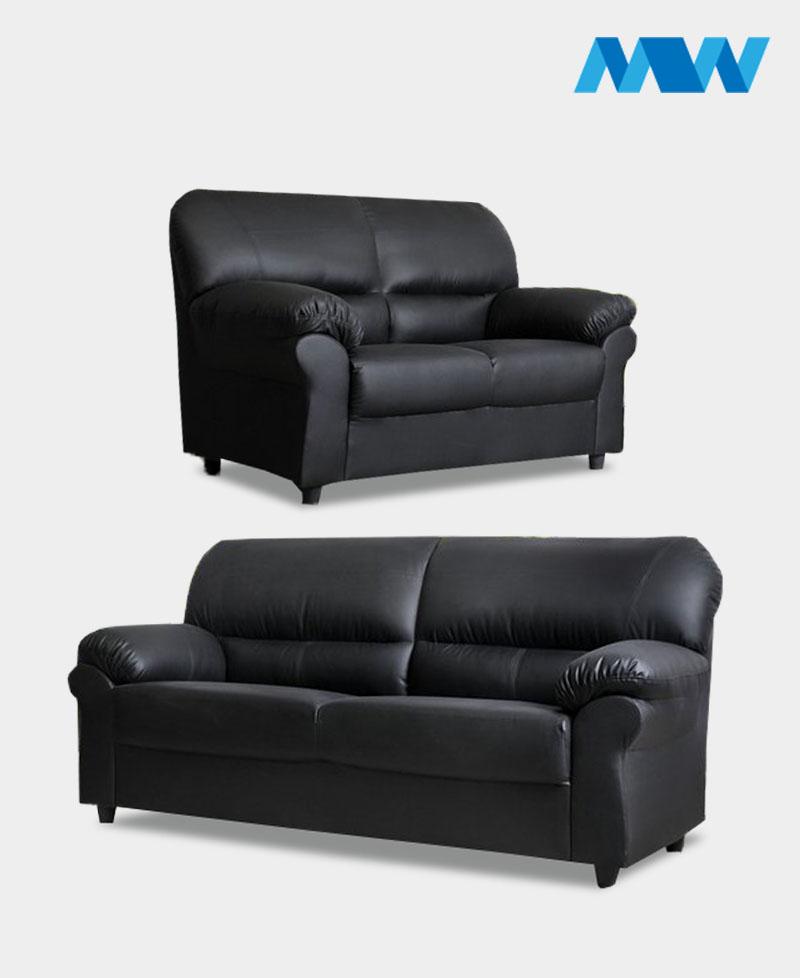 Maxi 2+3 leather Sofa Set black