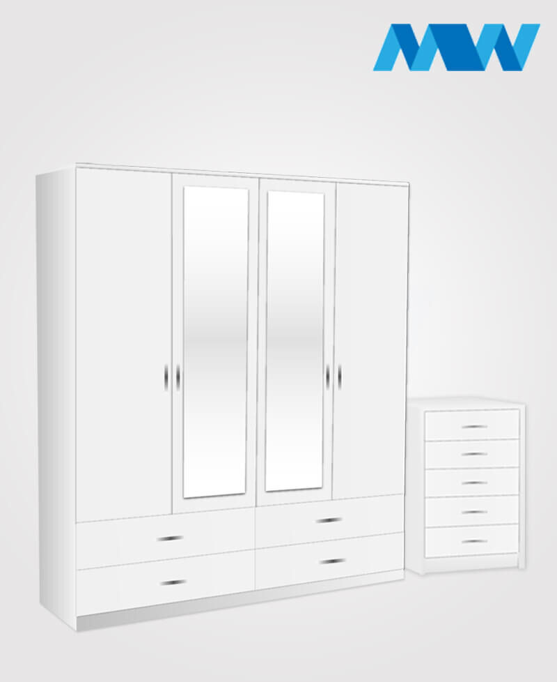 Aurora 2 Piece 4 Door Combi Wardrobe With 2 Mirrors & 4 Drawers white