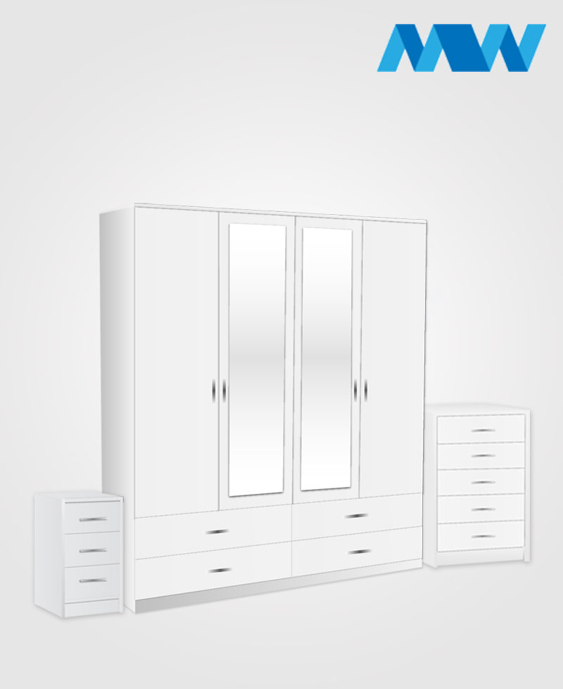 Aurora 3 Piece 4 Door Combi Wardrobe With 2 Mirrors & 4 Drawers white