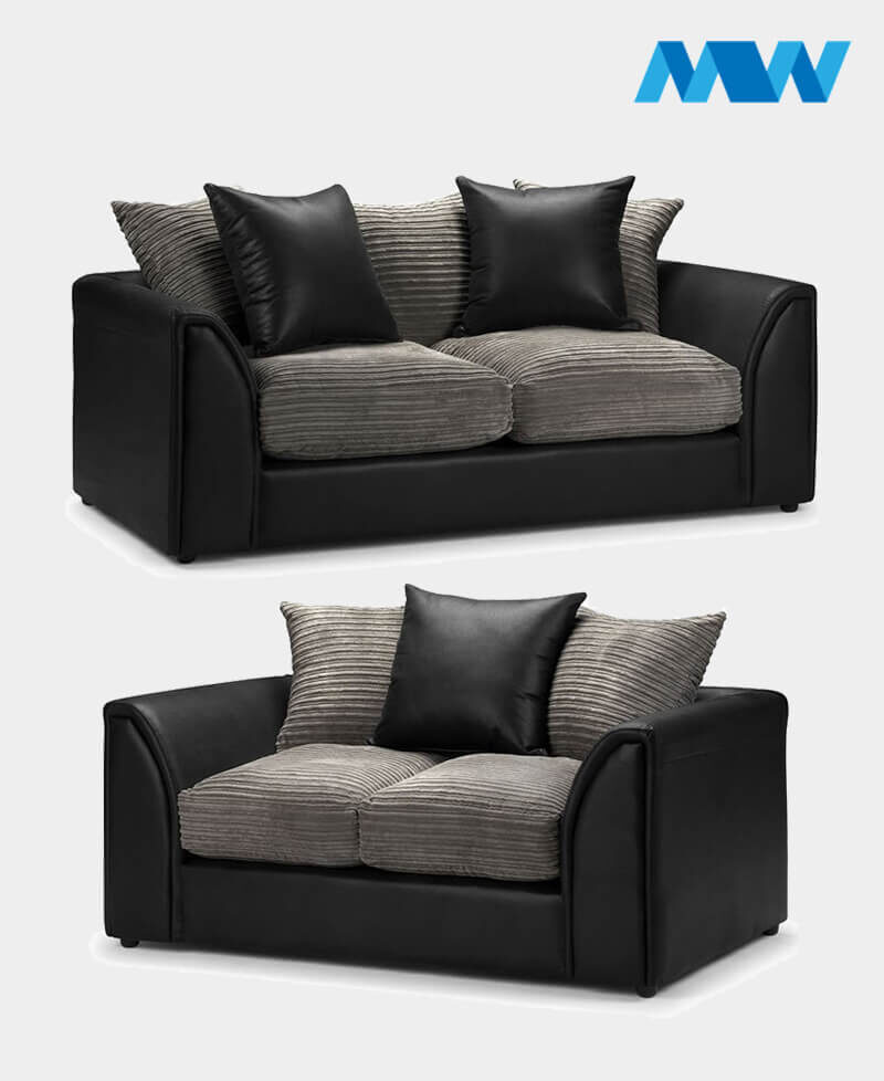 Byron 2+3 Seater Sofa Set Black and grey