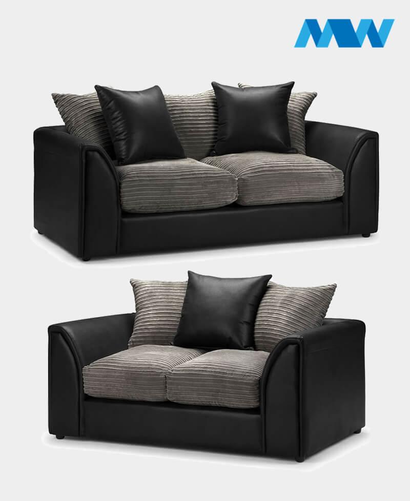 Byron 2+3 Seater Sofa Set black and grey