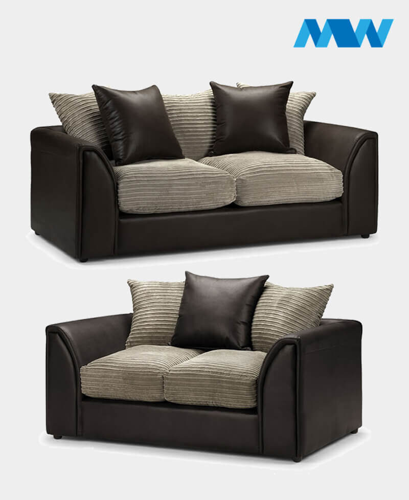 Byron 2+3 Seater Sofa Set brown and oak