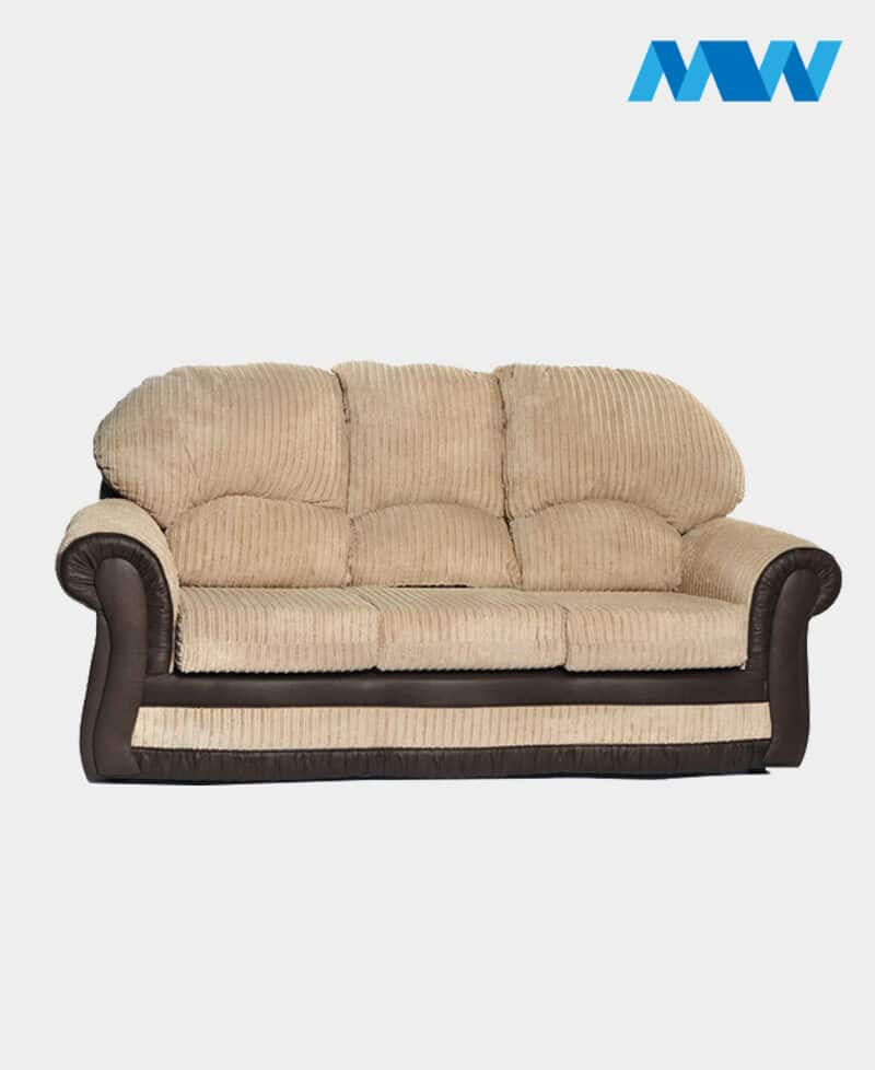Roma 3 Seater Sofa(chenille and faux leather) beige