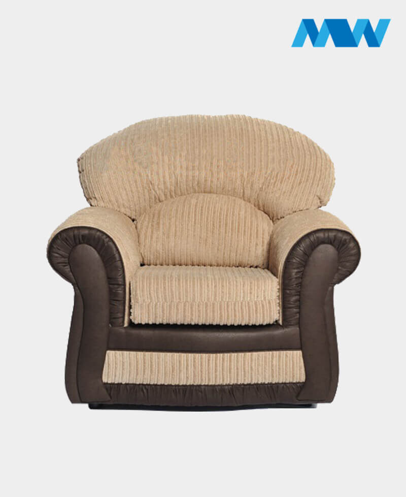 Roma Sofa Chair(chenille and faux leather) brown and cream