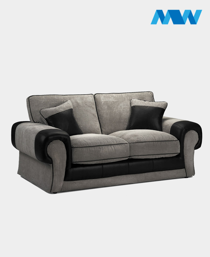 Tangent 2 Seater Fabric Sofa black and grey