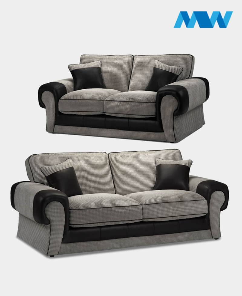 Tangent 2+3 Fabric Sofa Set BLACK AND GREY