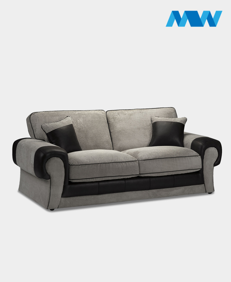 Tangent 3 Seater Fabric Sofa black and grey