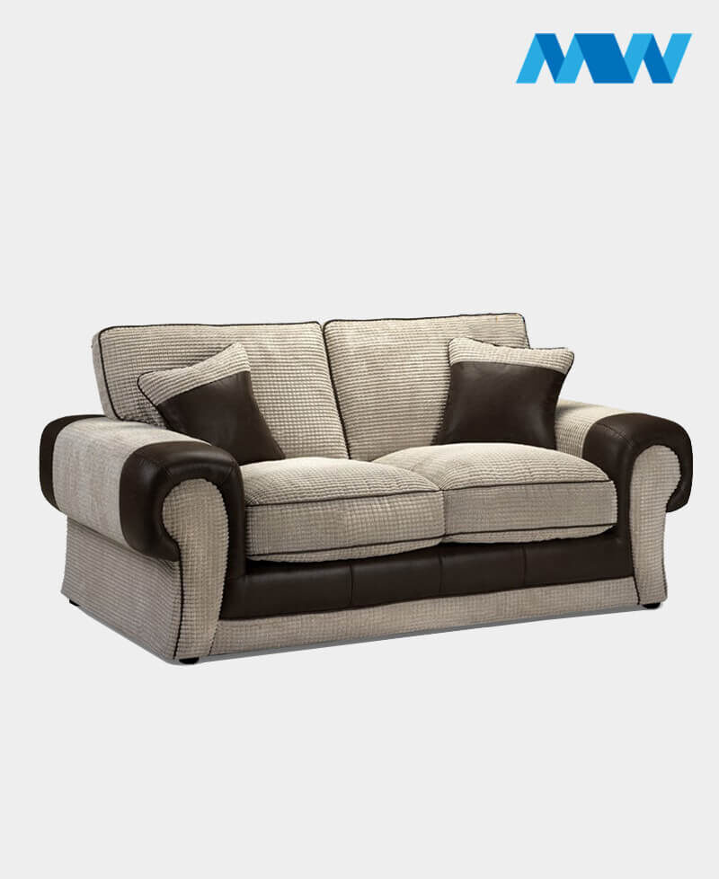 Tangent 2 Seater Fabric Sofa brown and cream