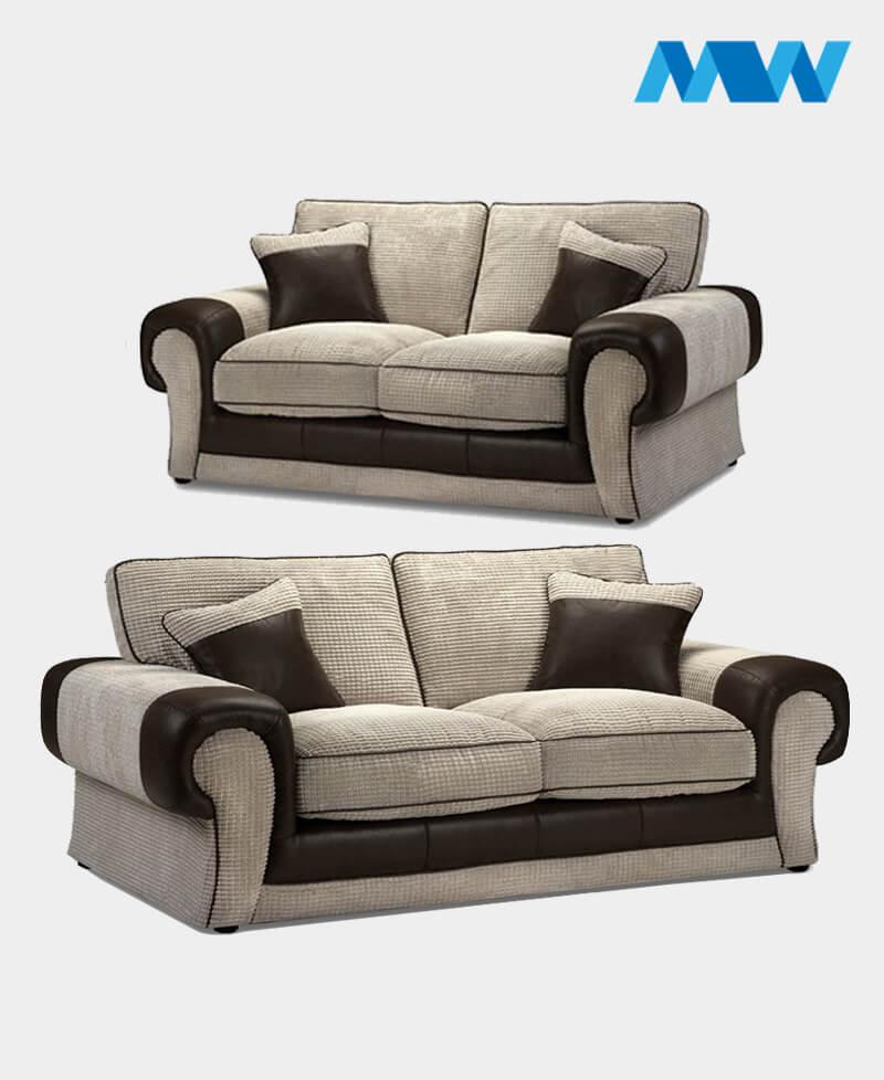 Tangent 2+3 Fabric Sofa Set brown and oak
