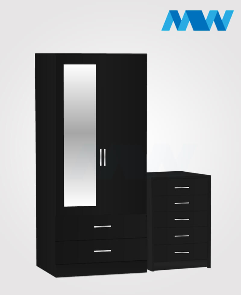 Home 2 Piece 2 Door Wardrobe With 1 Mirror and 2 Drawer set black