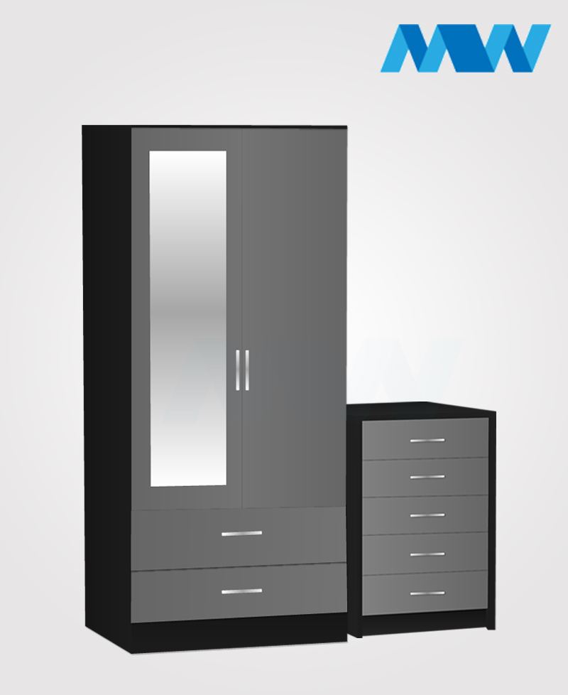 Home 2 Piece 2 Door Wardrobe With 1 Mirror and 2 Drawer grey and black