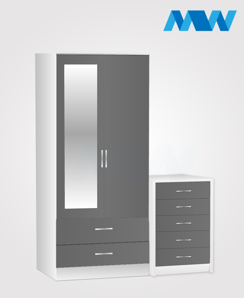 Home 2 Piece 2 Door Wardrobe With 1 Mirror and 2 Drawer grey and white