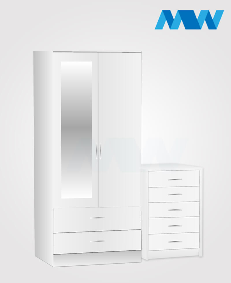 Home 2 Piece 2 Door Wardrobe With 1 Mirror and 2 Drawer set white