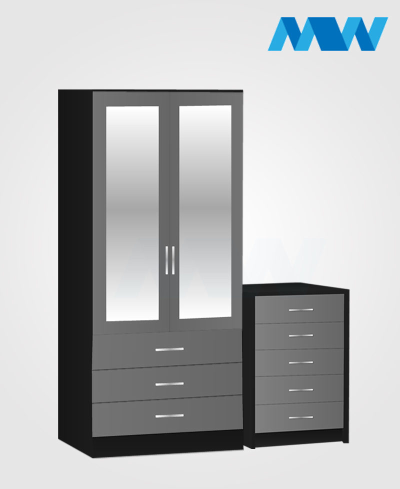 Home 2 Piece 2 Door Wardrobe Set With 2 Mirrors and 3 drawers black and grey