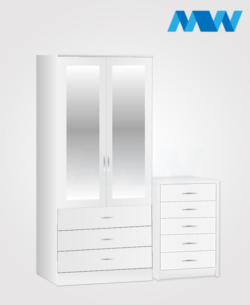 Home 2 Piece 2 Door Wardrobe Set With 2 Mirrors and 3 drawers white