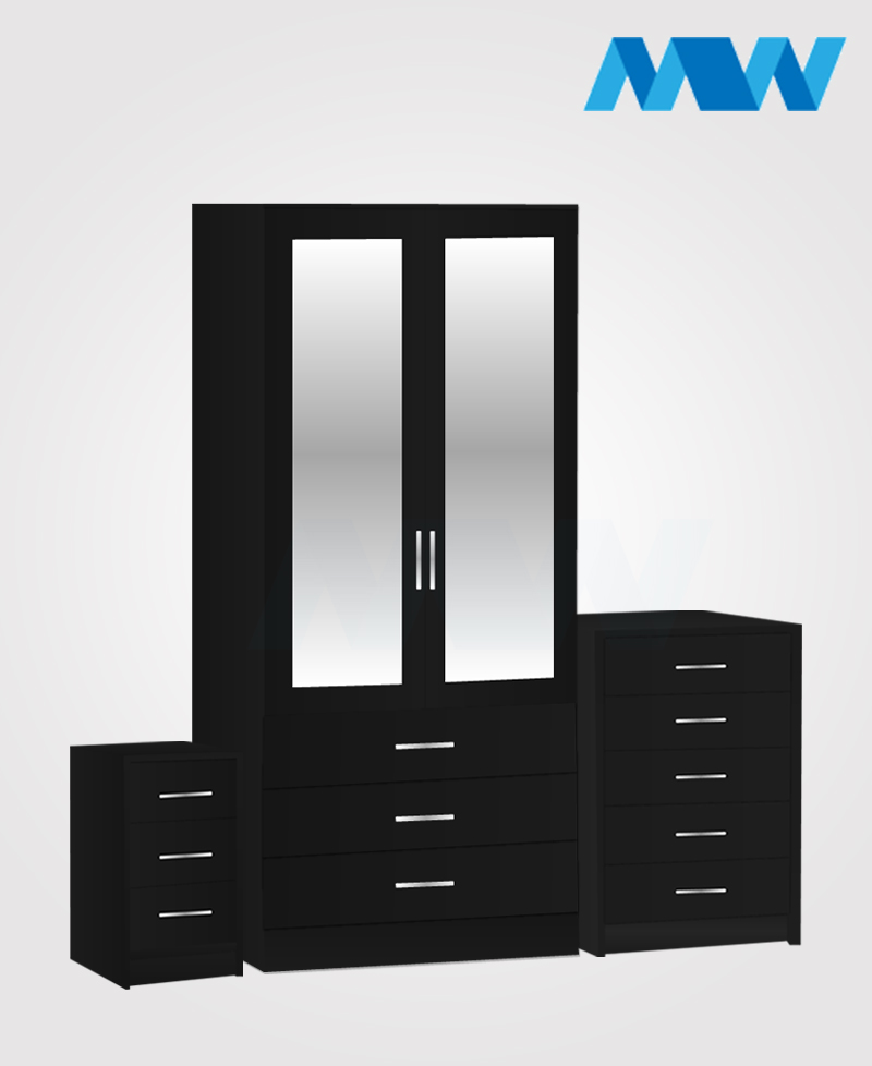 Home 3 piece 2 Door Wardrobe Set with 2 mirrors and 3 drawers black