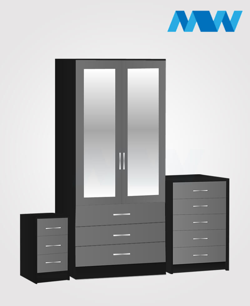 Home 3 piece 2 Door Wardrobe Set with 2 mirrors and 3 drawers grey and black