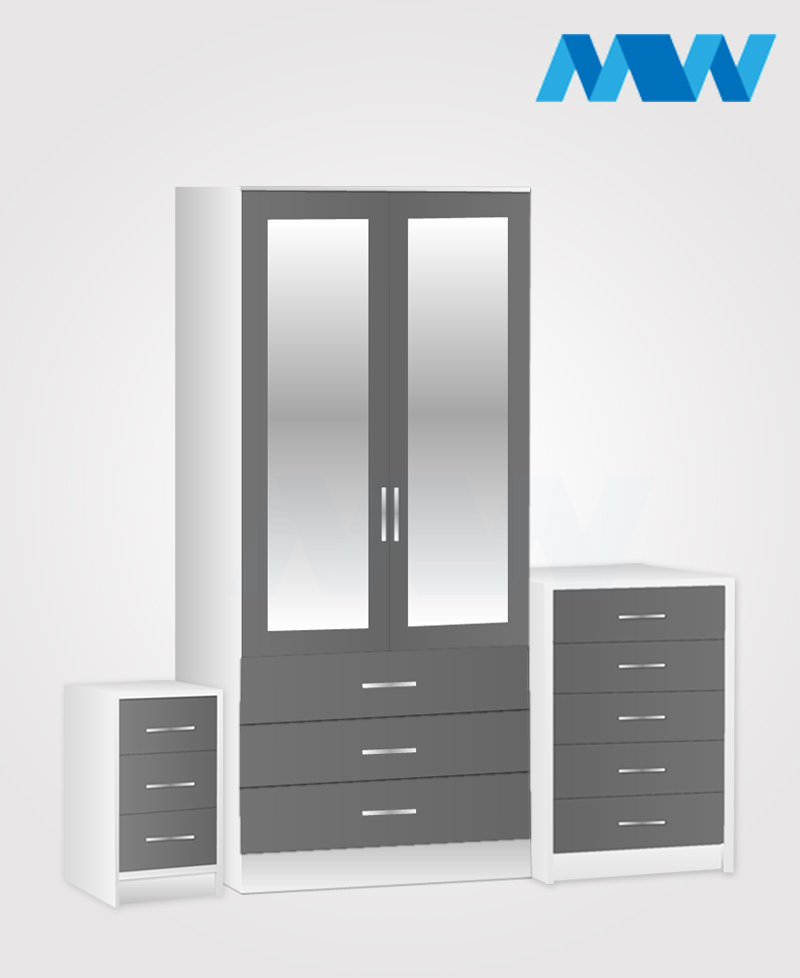 Home 3 piece 2 Door Wardrobe Set with 2 mirrors and 3 drawers grey and white