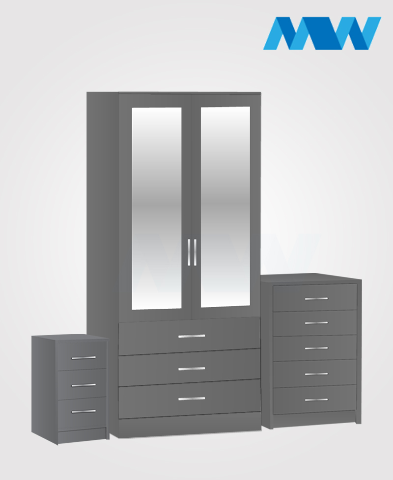 Home 3 piece 2 Door Wardrobe Set with 2 mirrors and 3 drawers grey