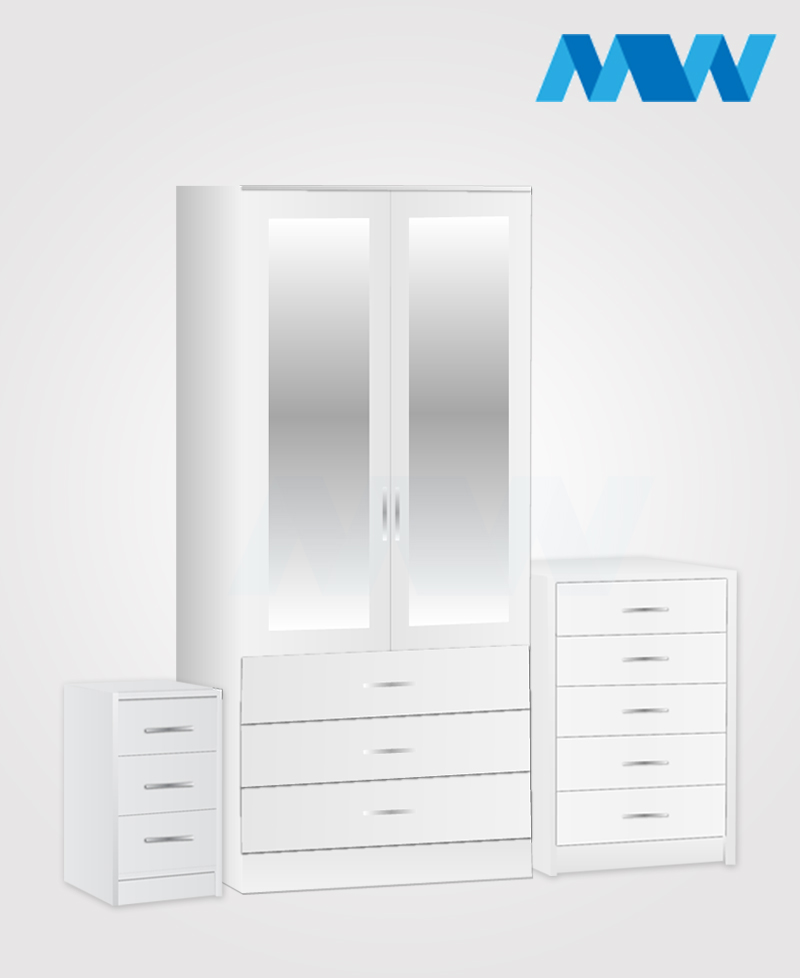 Home 3 piece 2 Door Wardrobe Set with 2 mirrors and 3 drawers white
