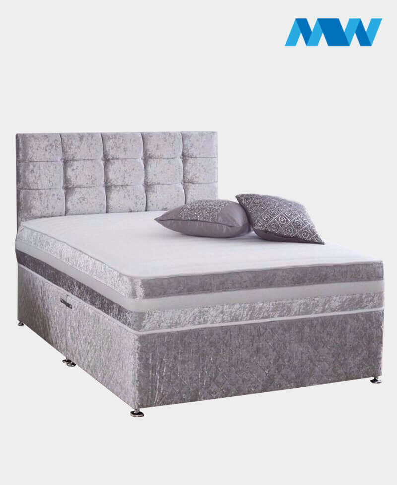 Crushed Velvet Divan Bed With Drawers