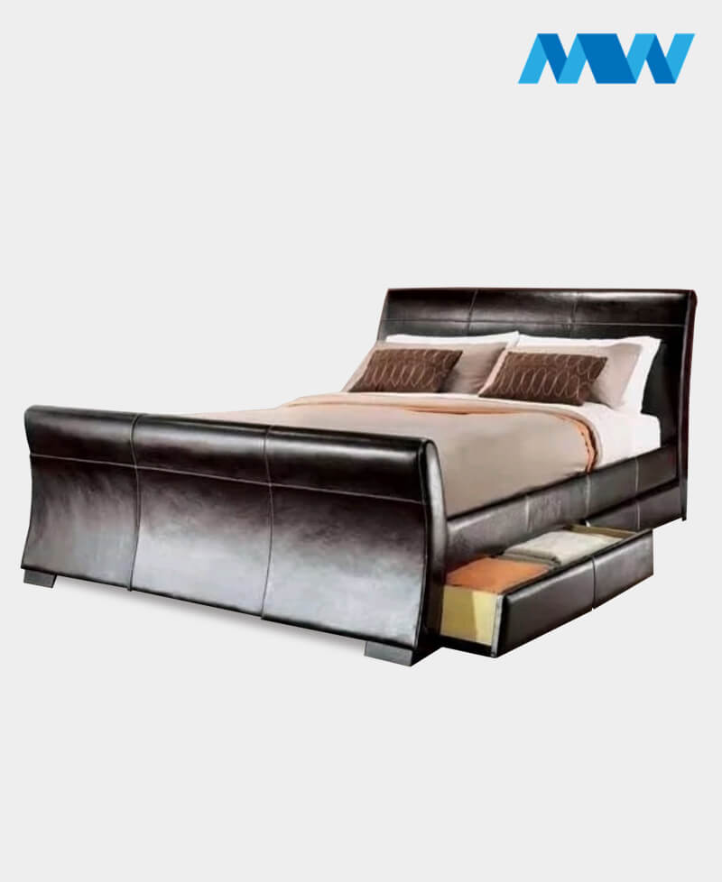 3-Denam Gas Lift Ottoman Storage Bed brown