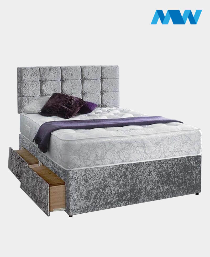 Crushed Velvet Divan Bed With Drawers grey