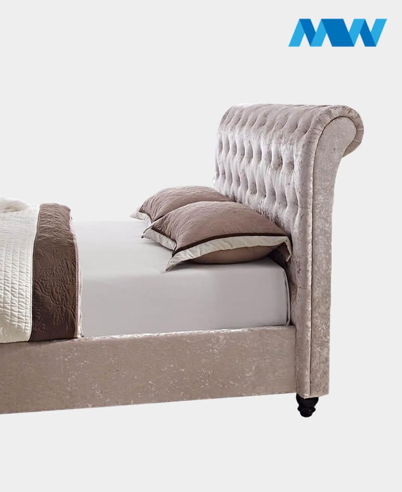 Crushed velvet sleigh bed