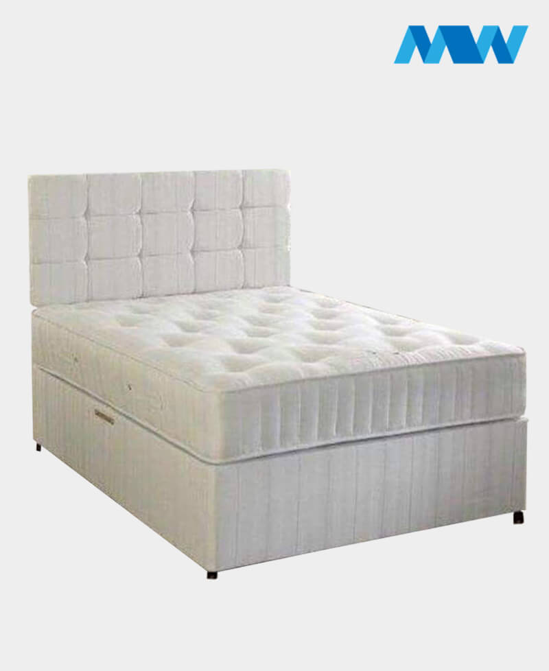 Crushed Velvet Divan Bed With Drawers white