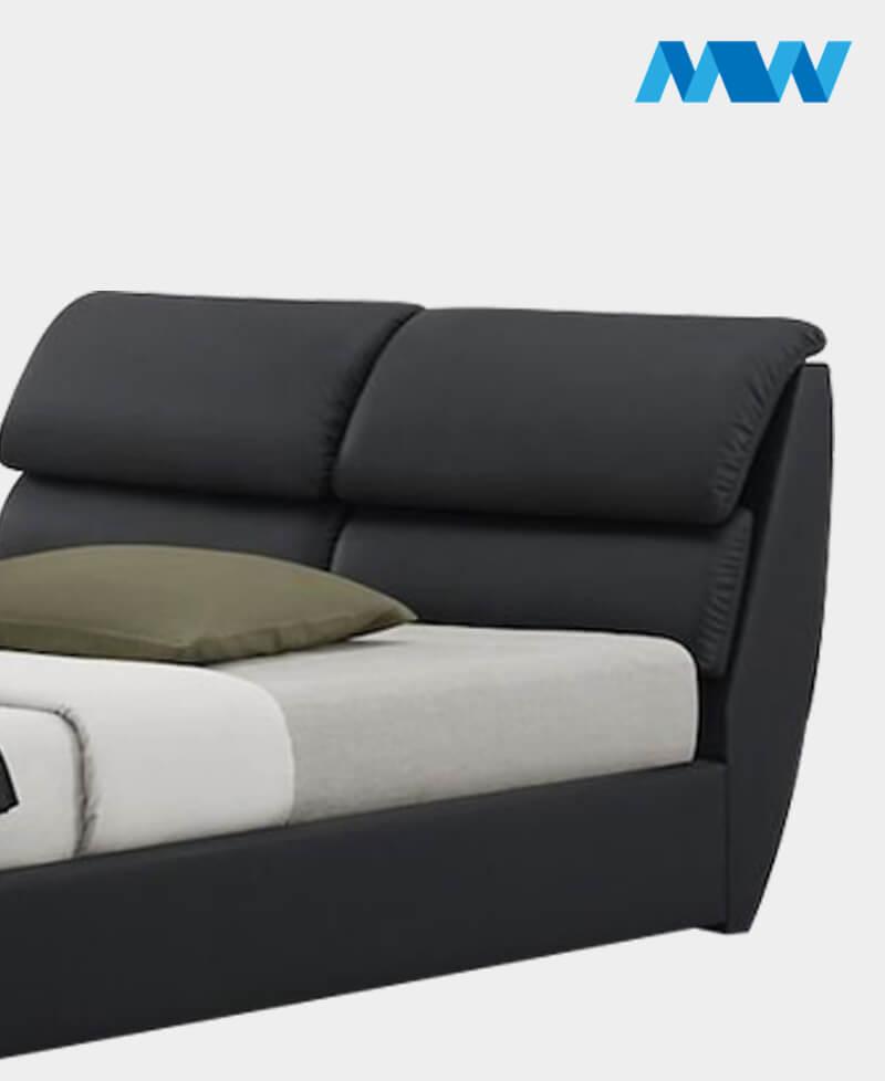 Libretto Leather Designer Bed Black headboard 2